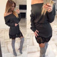 Spring Bodycon Casual Dress Slim Pencil Tunic Mini Vestidos Long Sleeve Party Gowns Office Workwear Bandage Women's Dress