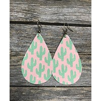 Handcrafted Leather Pink Cactus Teardrop Earrings