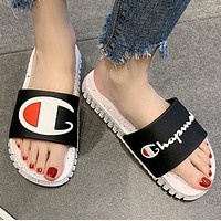 Champion Fashion New Letter Logo Spot Women Men Slippers Shoes Black
