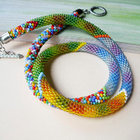 Colorful bead crochet necklace, multicolored rope, beaded necklace, beadwork, beaded crochet, everyday necklace, rainbow, autumn trends