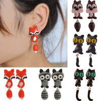 Handmade Polymer Clay Cute  Animal Stud Earrings