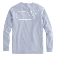 Vineyard Vines Long Sleeve Vintage Whale Graphic Pocket Tee- Barracuda