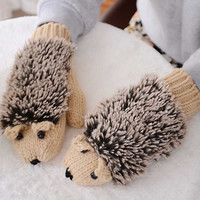 Cartoon Hedgehog Knitted Gloves