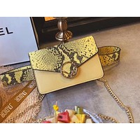 FENDI Stylish Women Snake Skin Texture Leather Purse Waist Bag Single-Shoulder Bag Crossbody Satchel Yellow I-WXZ2H