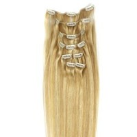 "Alexxis 18"" Clip in Human Hair Extensions, 10pcs, 100g, Color #F27/613 (Honey blonde)"