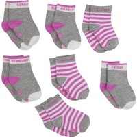 7 For All Mankind Baby-girls Newborn 7 Piece Sock Set, Fuchsia Pink, 0-9 Months