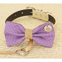 Purple Dog Bow Tie collar, Dog ring bearer, Pet Wedding accessory, Charm