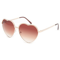 Full Tilt Gold Heart Sunglasses Gold One Size For Women 23132662101