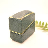 Art Deco Ring Box, Beautiful Teal Leather with Gold Detailing, Wedding Ring Box, Display Box, Excellent Condition