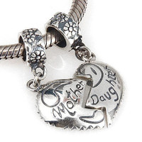Original 925 sterling silver heart mother daughter charm pendant Fits for Pandora Bracelets free shipping