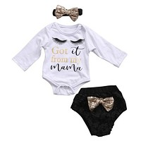 Baby Clothing 3Pcs Set born Baby Girls Clothes Long Sleeve eyelash Romper +Sequin Bottoms Pants Outfits