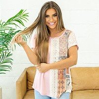 NEW! Jessie Pink Patchwork Top with Lace Trim