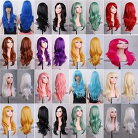 70cm Cheap Long Wavy Wig Synthetic Hair White Black Red Purple Green Blue Blonde Anime Cosplay Wigs For Halloween Costume Party