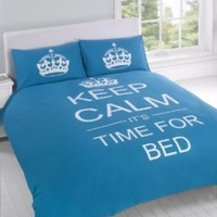 FULL TEAL TEENAGER KEEP CALM ITS TIME FOR BED COTTON REVERSIBLE COMFORTER COVER