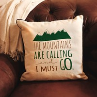 Mountains are Calling Pillow Cover - Lodge Cabin home decor