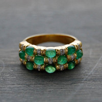 14k Yellow Gold Checkerboard Set Emerald Diamond Ring - Vintage 1980s