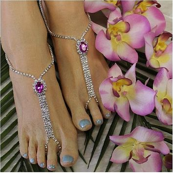 BRIDESMAID  rhinestone barefoot sandals - hot pink