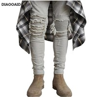 Plus Size New Men Brand Clothing Casual stretch keen patch with wrinkle Skinny Slim Biker Jeans Denim ripped Pants Trousershomme
