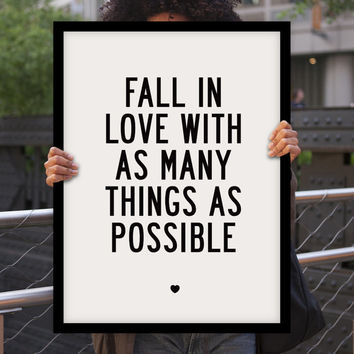 """Inspirational Quote Motivational Art Wall Decor """"Fall In Love..."""" Poster Sign Subway Art Typography Print"""