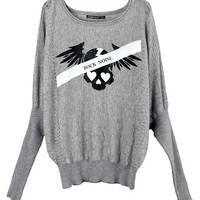 Gray Batwing Knit Tops with Skull Print