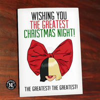 Wishing You the Greatest Christmas Night - Funny Christmas Card - Pop Song Christmas Card - 4.5 X 6.25 Inches - Seasons Greetings Card