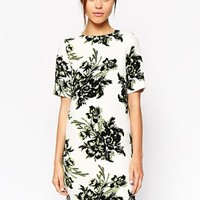 Warehouse Floral T-Shirt Dress - Green and white