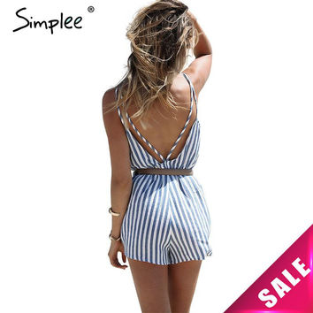 Simplee Apparel Summer backless blue stripe women jumpsuit romper Elegant one piece sexy overalls Beach short playsuit