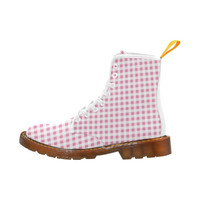 Petal Pink Gingham Martin Boots For Women Model 1203H | ID: D1279354