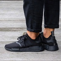 Adidas NMD R1 Primeknit Triple Black BZ0220 Boost Sport Running Shoes Classic Casual Shoes Sneakers