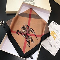 Burberry hot sale new ladies check embroidery wild square