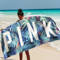 Victoria's Secret Fashion PINK Letter Print Palm Leaf Beach Towel I12564-1