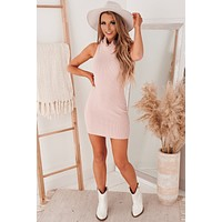Close To The Chest Turtleneck Mini Dress (Dusty Rose)