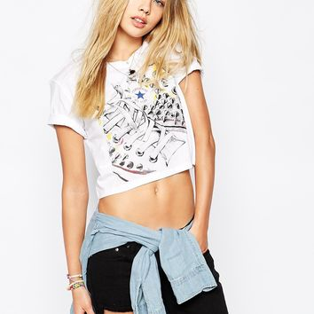 Converse Cropped T-Shirt With Stud Print