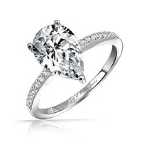 1.1CT Pear Cut Russian Lab Diamond Engagement Ring