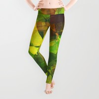 Cactus Garden Abstract Polygons 1 Leggings by Christopher Johnson