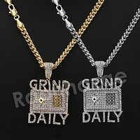 "14K PT Gold GRIND DAILY Pendant W/5mm 24"" 30"" Cuban Chain"