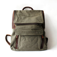 Leisure men's and women's Leather Canvas Bag/ Canvas Backpack/ Leather Bag/ School Bag/ Shoulder Bag