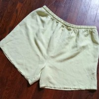 "Women's L Green Linen Rayon Shorts 34-42"" Elastic Drawstring Waist Soft Cool"