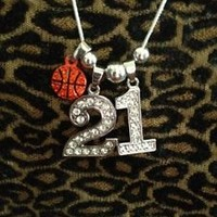 """18"""" Personalized Jersey Rhinestone TWO Number ONE BASKETBALL Charm Necklace Silv"""