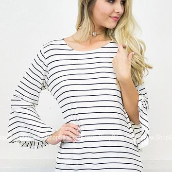 Belle Striped Ivory Top