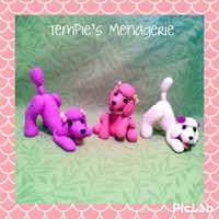 Poodle dog playing Handmade figurine - ring holder MADE TO ORDER Polymer clay sculpture Cute Pet Decor