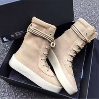 Kanye West Ankle Boots Thick Heel Platform Chelsea Boots Fashion Lace Up Women Shoes High Top Sneakers Winter Snow Botas Mujer