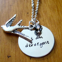 """Divergent Inspired Necklace. Tris quote """"I am divergent"""". Birds Tattoo, Silver colored, charm pendant, Swarovski crystal, jewelry."""