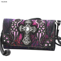Purple Mossy Camo Wing and Cross Wallet