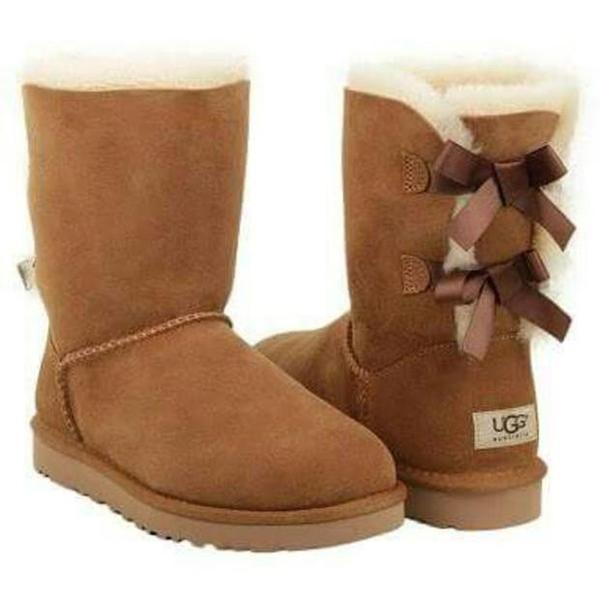 Image of UGG Fashion Women Bow Flats Leather Boots Half Boots Shoes