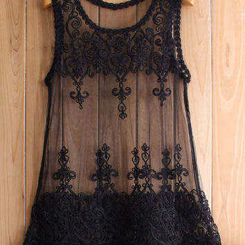 Sheer Black Lace Tank Top