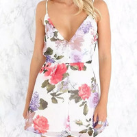Floral Print Spaghetti Straps Backless A-Line Dress