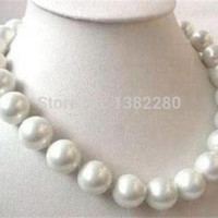 Free shopping! BIG 14mm White sea south shell pearl necklace 18 INCH   JT5928