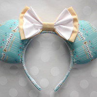 Retro Park Entrance Sign Mouse Ears Headband, Custom Ears, Exclusive Fabric Design