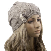 Fashion women Knitting Hat casual Hollow Out Leaves lace button wool hat female 2015 tiene sale wf